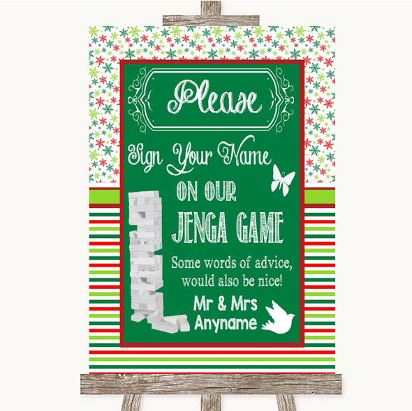 Red & Green Winter Jenga Guest Book Personalised Wedding Sign