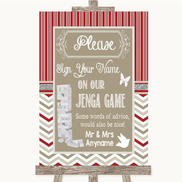 Red & Grey Winter Jenga Guest Book Personalised Wedding Sign