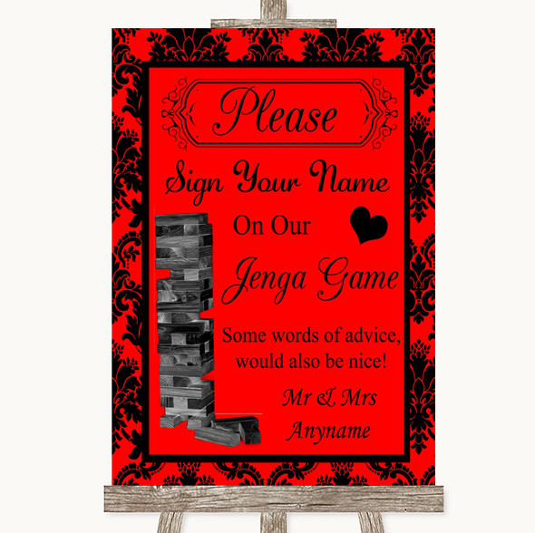 Red Damask Jenga Guest Book Personalised Wedding Sign