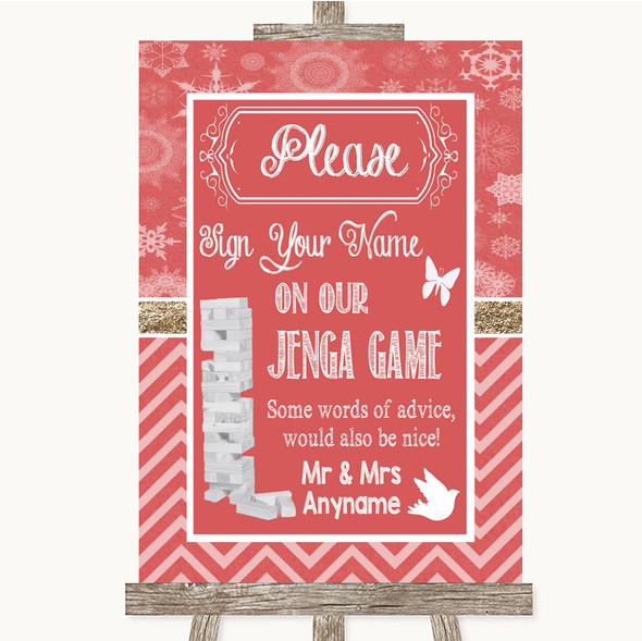 Red Winter Jenga Guest Book Personalised Wedding Sign