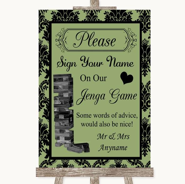 Sage Green Damask Jenga Guest Book Personalised Wedding Sign