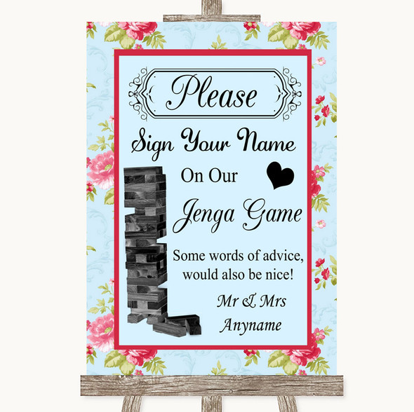 Shabby Chic Floral Jenga Guest Book Personalised Wedding Sign