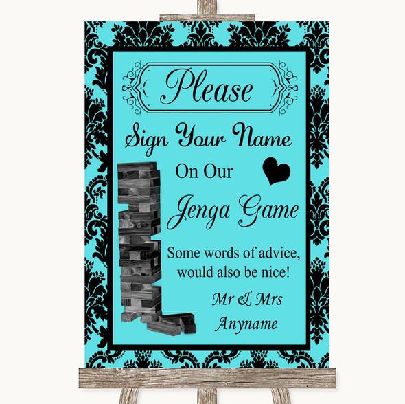 Tiffany Blue Damask Jenga Guest Book Personalised Wedding Sign