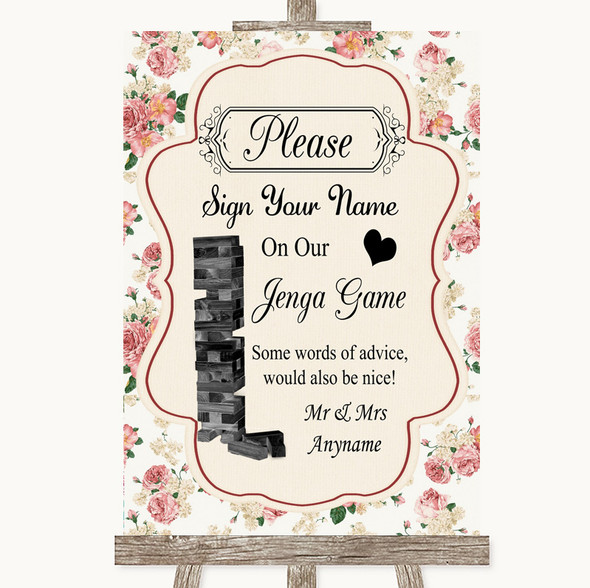 Vintage Roses Jenga Guest Book Personalised Wedding Sign