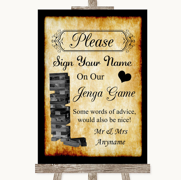 Western Jenga Guest Book Personalised Wedding Sign