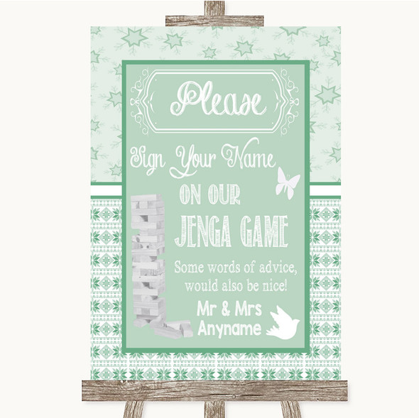Winter Green Jenga Guest Book Personalised Wedding Sign