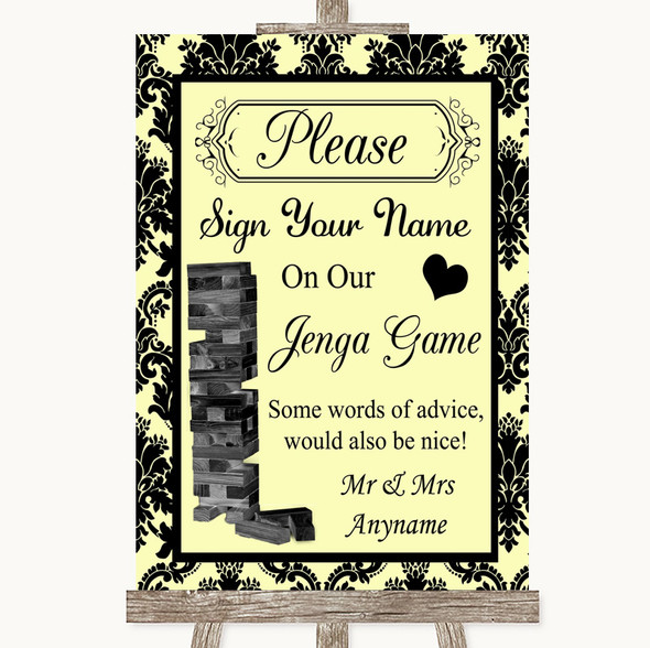Yellow Damask Jenga Guest Book Personalised Wedding Sign