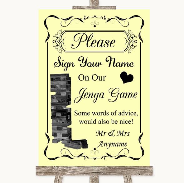 Yellow Jenga Guest Book Personalised Wedding Sign