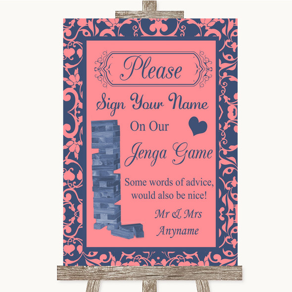 Coral Pink & Blue Jenga Guestbook Personalised Wedding Sign