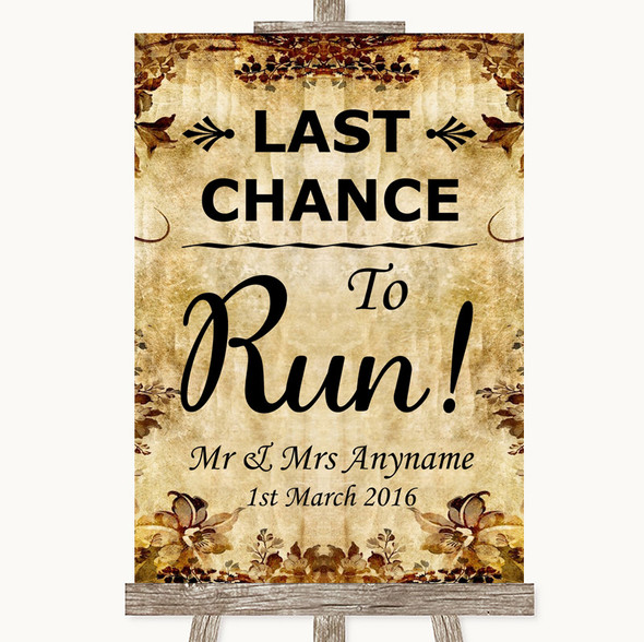 Autumn Vintage Last Chance To Run Personalised Wedding Sign