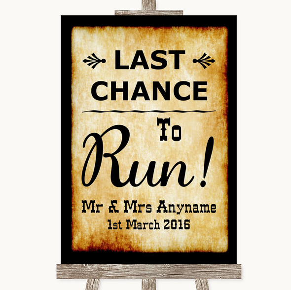Western Last Chance To Run Personalised Wedding Sign