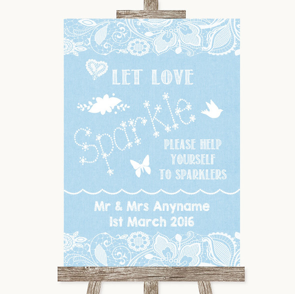 Blue Burlap & Lace Let Love Sparkle Sparkler Send Off Personalised Wedding Sign