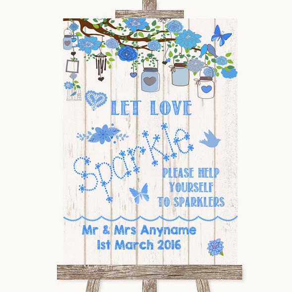 Blue Rustic Wood Let Love Sparkle Sparkler Send Off Personalised Wedding Sign