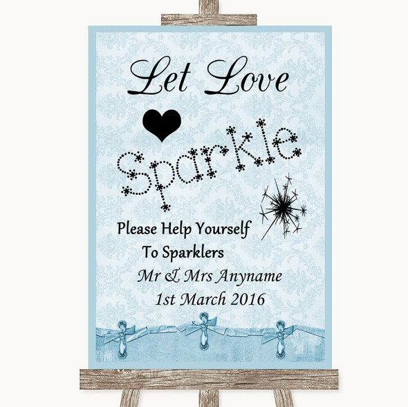 Blue Shabby Chic Let Love Sparkle Sparkler Send Off Personalised Wedding Sign