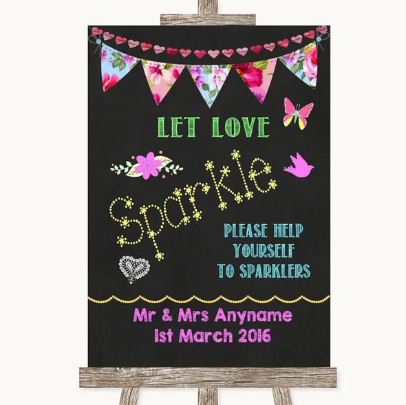 Bright Bunting Chalk Let Love Sparkle Sparkler Send Off Wedding Sign