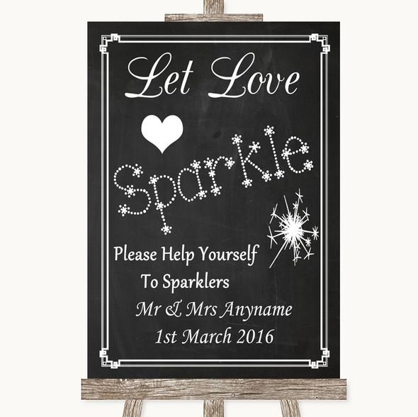 Chalk Style Let Love Sparkle Sparkler Send Off Personalised Wedding Sign