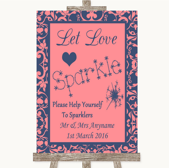 Coral Pink & Blue Let Love Sparkle Sparkler Send Off Personalised Wedding Sign