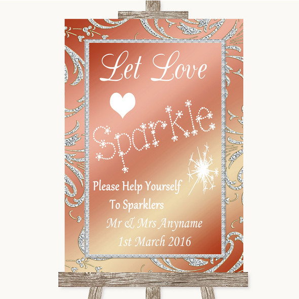 Coral Pink Let Love Sparkle Sparkler Send Off Personalised Wedding Sign