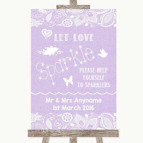 Lilac Burlap & Lace Let Love Sparkle Sparkler Send Off Personalised Wedding Sign
