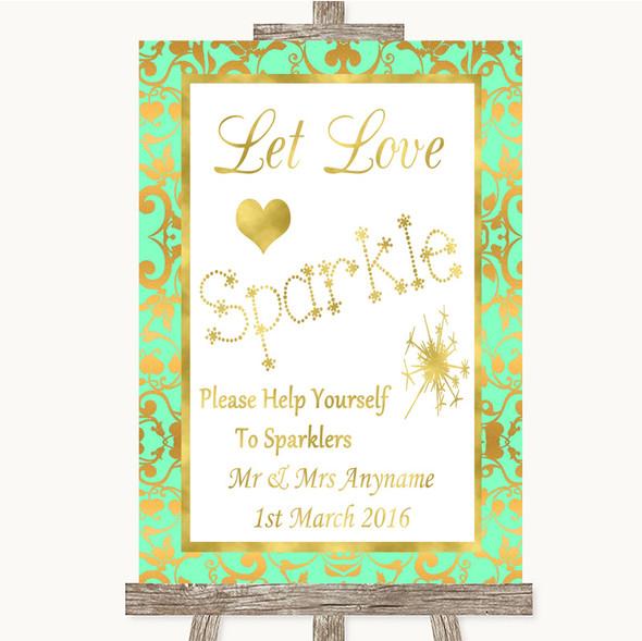 Mint Green & Gold Let Love Sparkle Sparkler Send Off Personalised Wedding Sign