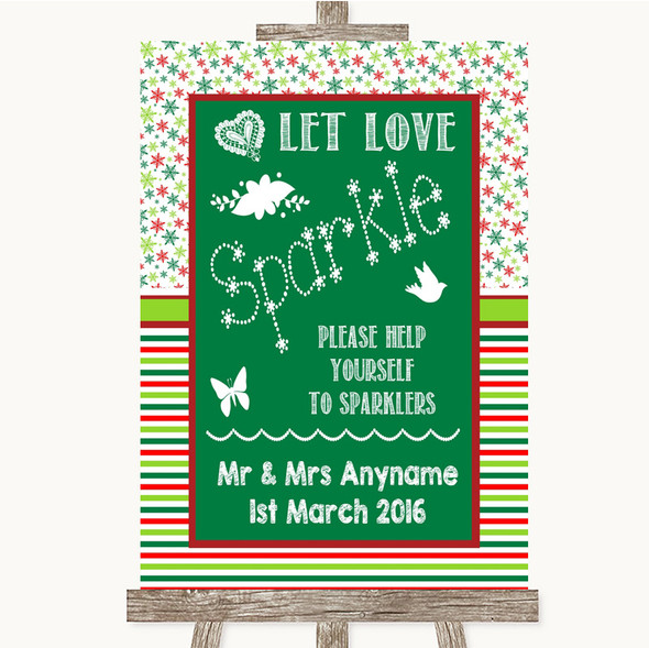 Red & Green Winter Let Love Sparkle Sparkler Send Off Personalised Wedding Sign