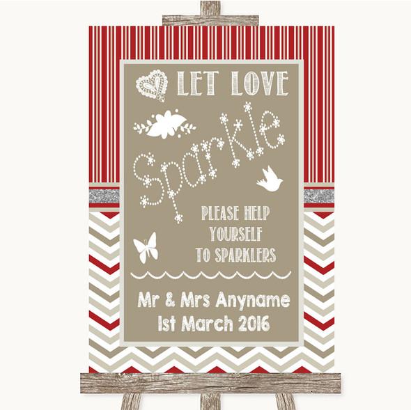 Red & Grey Winter Let Love Sparkle Sparkler Send Off Personalised Wedding Sign