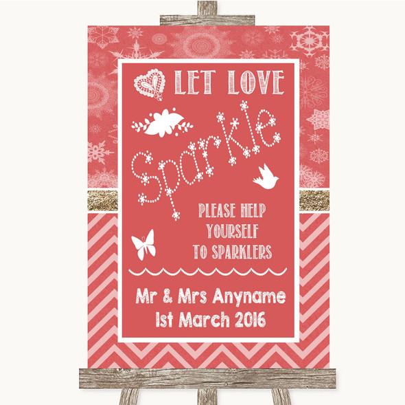 Red Winter Let Love Sparkle Sparkler Send Off Personalised Wedding Sign