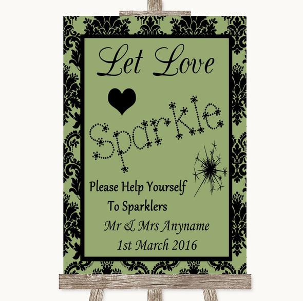 Sage Green Damask Let Love Sparkle Sparkler Send Off Personalised Wedding Sign
