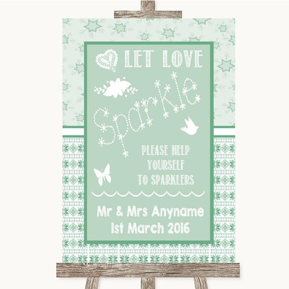 Winter Green Let Love Sparkle Sparkler Send Off Personalised Wedding Sign