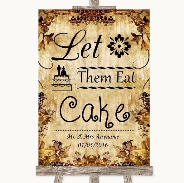 Autumn Vintage Let Them Eat Cake Personalised Wedding Sign