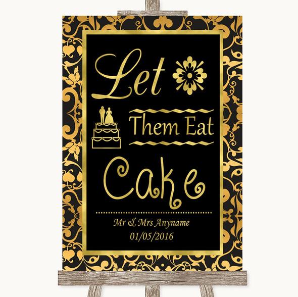 Black & Gold Damask Let Them Eat Cake Personalised Wedding Sign