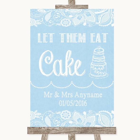 Blue Burlap & Lace Let Them Eat Cake Personalised Wedding Sign