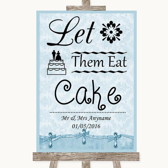 Blue Shabby Chic Let Them Eat Cake Personalised Wedding Sign