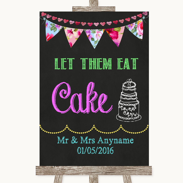 Bright Bunting Chalk Let Them Eat Cake Personalised Wedding Sign