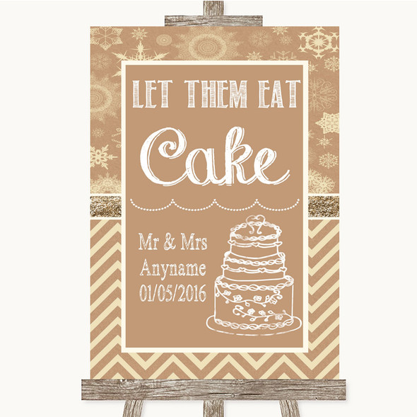 Brown Winter Let Them Eat Cake Personalised Wedding Sign