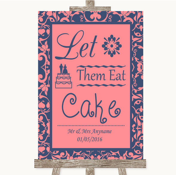 Coral Pink & Blue Let Them Eat Cake Personalised Wedding Sign