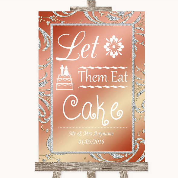 Coral Pink Let Them Eat Cake Personalised Wedding Sign