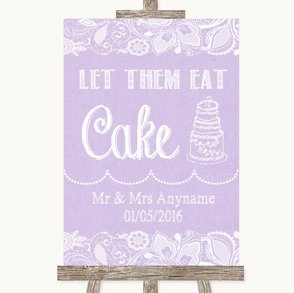 Lilac Burlap & Lace Let Them Eat Cake Personalised Wedding Sign
