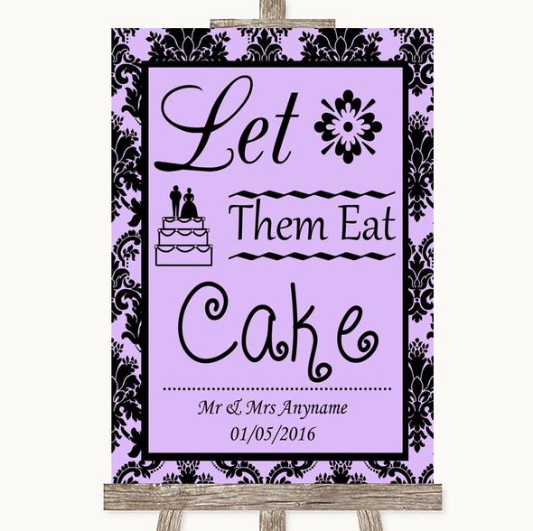 Lilac Damask Let Them Eat Cake Personalised Wedding Sign