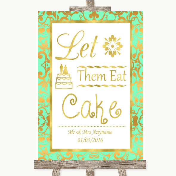 Mint Green & Gold Let Them Eat Cake Personalised Wedding Sign