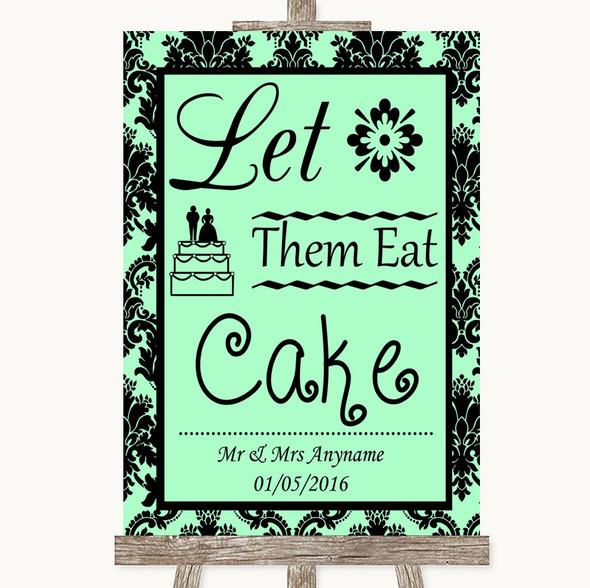 Mint Green Damask Let Them Eat Cake Personalised Wedding Sign