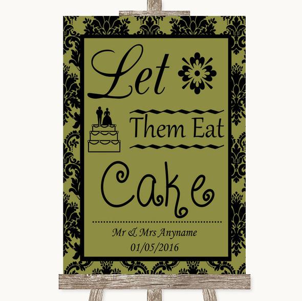 Olive Green Damask Let Them Eat Cake Personalised Wedding Sign