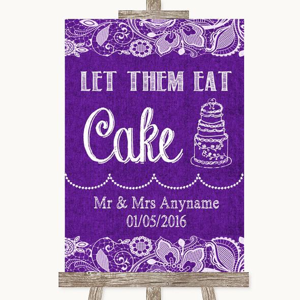 Purple Burlap & Lace Let Them Eat Cake Personalised Wedding Sign