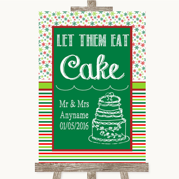 Red & Green Winter Let Them Eat Cake Personalised Wedding Sign