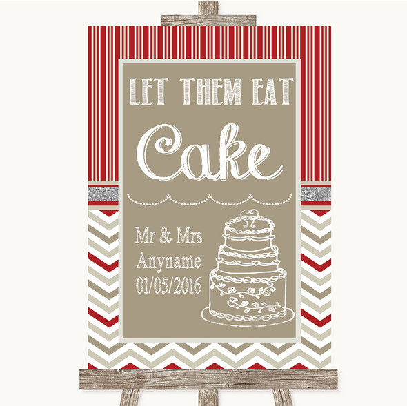 Red & Grey Winter Let Them Eat Cake Personalised Wedding Sign