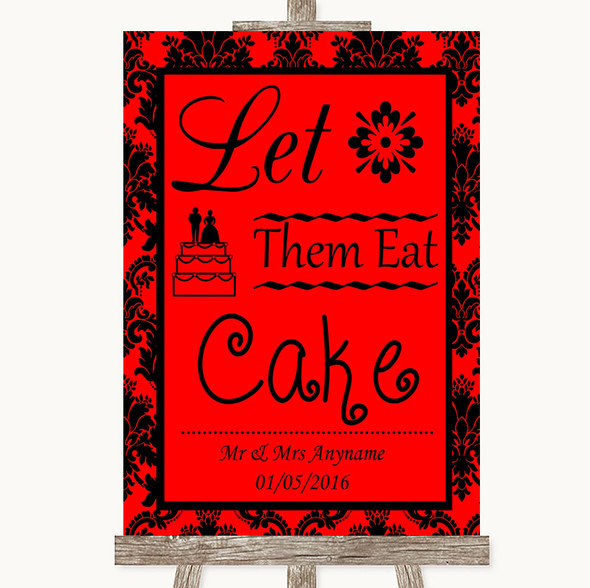 Red Damask Let Them Eat Cake Personalised Wedding Sign