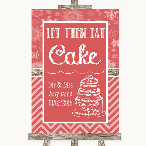 Red Winter Let Them Eat Cake Personalised Wedding Sign