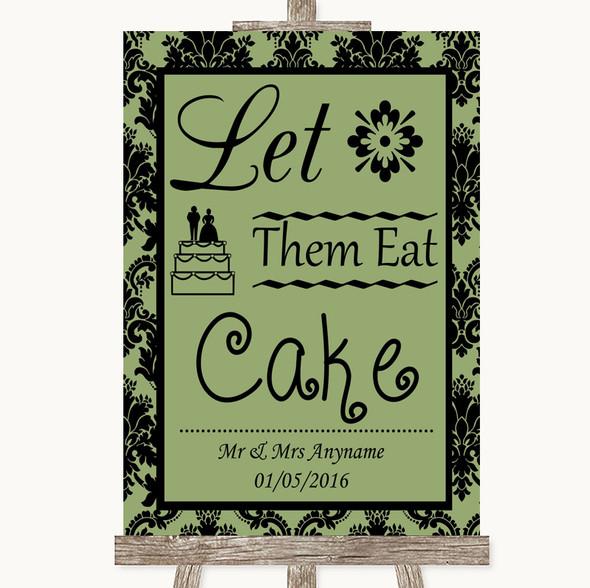 Sage Green Damask Let Them Eat Cake Personalised Wedding Sign