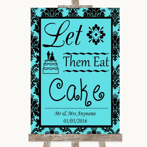 Tiffany Blue Damask Let Them Eat Cake Personalised Wedding Sign