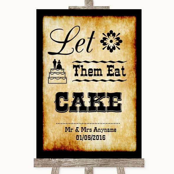 Western Let Them Eat Cake Personalised Wedding Sign